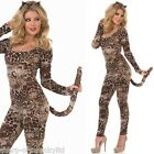 Ladies Sexy Cougar Catsuit Animal Leopard Fancy Dress Costume 8-26 Plus Size