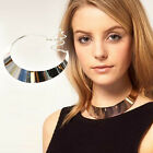Punk Metallic Curved Mirror Wide Choker Gold Silver Collar Mottle Necklace HOT