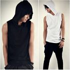 Men's sleeveless hooded tank Summer Stylish T-shirt  top hoodies tee Black/White