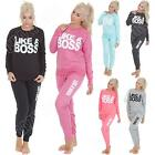 Womens Ladies Tracksuit Like A Boss Print Activewear Size S M L