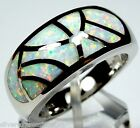 High Quality Dome White Fire Opal Inlay 925 Sterling Silver Band Ring Sz 6,7,8,9