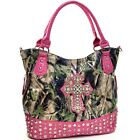 Women Patent Leather Tote Bag Camouflage Handbag with Rhinestone Studs Cross