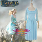 2015 Diseny Film Cinderella Lily James Blue Casual Dress Cosplay Costumes