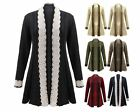 LADIES WOMEN LACE KNITT LONG SLEEVE OPEN FRONT WATERFALL DRESS TOP CARDIGAN 8-16
