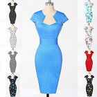 FREE SHIP~BLUE Polka dot FLORAL Swing 50's 60's Housewife Pinup Rockabilly Dress