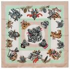 Authentic Hermes Silk Scarf CONFIDENTS DES COEURS Wheat Teddy Bears