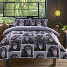 Cheeky Monkey Monochrome black and white Chimpanzee design, bedding duvet cov...