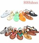 Women's Thong Beach T-Strap Slingback Flat Metallic Sandals Shoes Size 6 -11 NEW