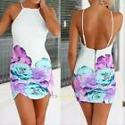 Sexy Women Lady Summer Floral Backless Straps Bodycon Casual Party Mini Dress
