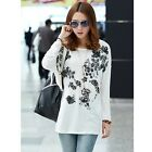 Chic Lady Korean Loose Floral National Style Crewneck Casual Skirt Dresses LJ
