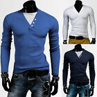 Unique Designer Men's Casual Slim Fit Long Sleeve T-Shirt Tops Size XS S M L NEW