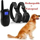 Blue LCD Waterproof Rechargeable Shock Dog Training Collar Pet Trainer 2 dogs