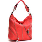 Women Leather Handbag Silver Tone Zip Front Hobo Bag with Buckle Shoulder Strap