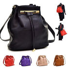 Women Shoulder Bag Leather Convertible Drawstring Bucket Bag and Backpack