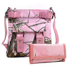 Pink Camo Purse with Wallet Set Belt Buckle Messenger Bag Trifold Wallet Combo