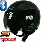 ORIGINE BLUETOOTH GLOSSY BLACK SOLID OPEN FACE MOTORCYCLE HELMET DOT XS - XL