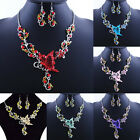 2015 Charm Retro Alloy Chain Butterfly Flower Necklace&Earring Jewelry Set #11P