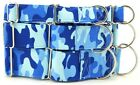 Blue Camo Martingale Dog Collar - Variety of Sizes Available