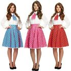Ladies Sexy 1950s Polka Dot Skirt Matching Neck Scarf Fancy Dress Costume Outfit