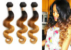 3Bundles Brazilian Human Hair Extension Body Wave Ombre 3TONE 1B/33/27 US LOCAL