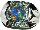 Men's Australian Opal Stainless Steel & Peridot Ring  #170 Ringz4less Exclusive