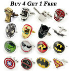 SUPERHERO MENS WEDDING SHIRT CUFFLINKS MARVEL DC Superman Batman Spiderman Gift
