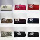 Satin Crystal Floral Pleated Metal Flower Prom Party Wedding Clutch Evening Bag
