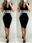Womens Celeb Pencil Bodycon Slimming Illusion Crochet  Sleeveless Midi Dress