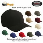 6377 Authentic Flexfit Men's Brushed Twill Fitted Hat All Colors S/M & L/XL