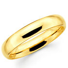 10K Solid Yellow Gold 4mm Comfort Fit Men's and Women's Wedding Band Ring
