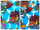 """100% Cotton Poplin Dress Fabric Material -Tropical Fish Coral - 44"""" (112cm) wide"""