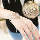 FYQ Fashion Women Fish Scale Shape Metal Chain Bracelet With Ring Hand Jewelry