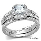 Women's Stainless Steel Halo Cushion Cut AAA CZ Wedding Ring Set Sz 5,6,7,8,9,10