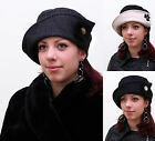 New Women Ladies Elegant Vintage Style 100% Wool Cloche Button Topfhut Hat
