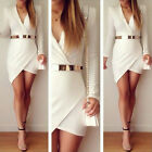 Sexy Women Belted Long Sleeve Summer Bodycon Party Cocktail Evening Mini Dress