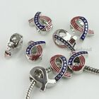 US Flag Ribbon Cancer Awareness Finding European Charm Bead Fit Bracelet Jewelry