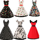 Multi STYLE~UK FAST COTTON HOUSEWIFE 1940S 1950S VINTAGE RETRO FLARED TEA DRESS