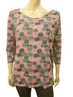 Womens Maine T-Shirt Top 3/4 Sleeve Black & Pink Floral Print Grey Size 8 to 22