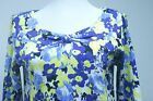NEW WOMENS RAFAELLA BLUE WHITE YELLOW 3/4 SLEEVE COTTON SHIRT U Pick Size