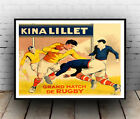 Kina Lilllet,  Vintage Rugby advert  poster reproduction.