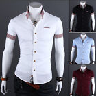 New Fashion Korean Men's Casual Hit Color Grid Short Sleeve Slim Fit Shirts