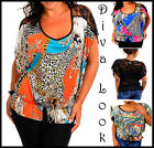 Ladies Batwing Lace Tribal Animal Blouse Summer Party Vest Shirt Plus Size Top