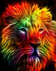 Counted Cross Stitch Pattern or Kit, Animal, Fractal Lion