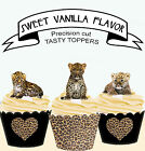 Leopard Big Cat Cub Animal Birthday Party EDIBLE wafer Cupcake Toppers cup cake