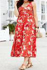 MARISOTA Sleeveless Leaf Print Tiered Stretch Cotton Dress RED / BEIGE 12 to 30
