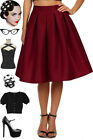50s Style RUBY WINE Bombshell Pinup HighWaisted FULL Silhouette TAFFETA Skirt
