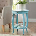 Round End Table Accent With Drawer Multiple Color Shelf Living Room Furniture