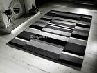 Jazz Blocks Charcoal Grey Black Luxury Wool Rug in various sizes and runner