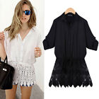 Fashion Sexy Women Loose LACE Casual Summer Shirt Tops Blouse Tee Black/White
