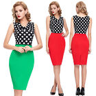 Celebrity Womens Summer Polka Dots V Neck Top Office Bodycon Pin Up Swing Dress